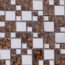 Luxury Browns Amber Mix Electroplating Glass Mosaics