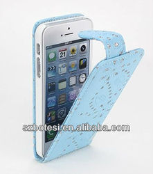 New Design Diamond Leather Phone Case for Iphone5/phone case for iphone 5