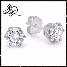 Platinum Plated Sterling Silver Stud Earrings with 6mm Zirconia