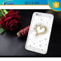Transparent PC light up heart shape decorate mobile phone case for iPhone 5c