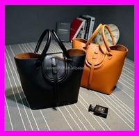 With a bucket bag cow mother bag leather cradle portable shoulder female bag