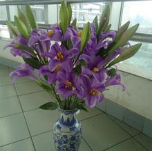lujosas flores del lirio artificiales seda de decorativa lirio 3 cabeza a la venta