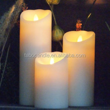 Ivory Resin Battery Operated Flameless LED Candle with Moving Wick
