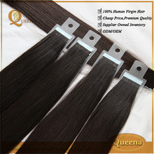 Factory Price Wholesale Tape Hair Extensions, Top Quality Remy Human Hair, Natural Color Silky Straight Peruvian Virgin Hair