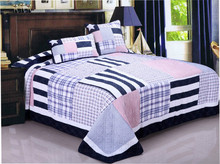Fashion cotton washed handmake patchwork quilt bed spread/bed sheet MS-247
