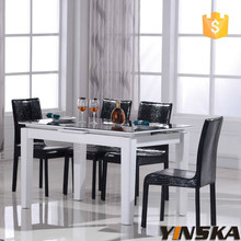 Black and white MDF high gloss furniture dining table and chair set