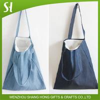 custom printed denim jean fabric canvas tote shopper bag
