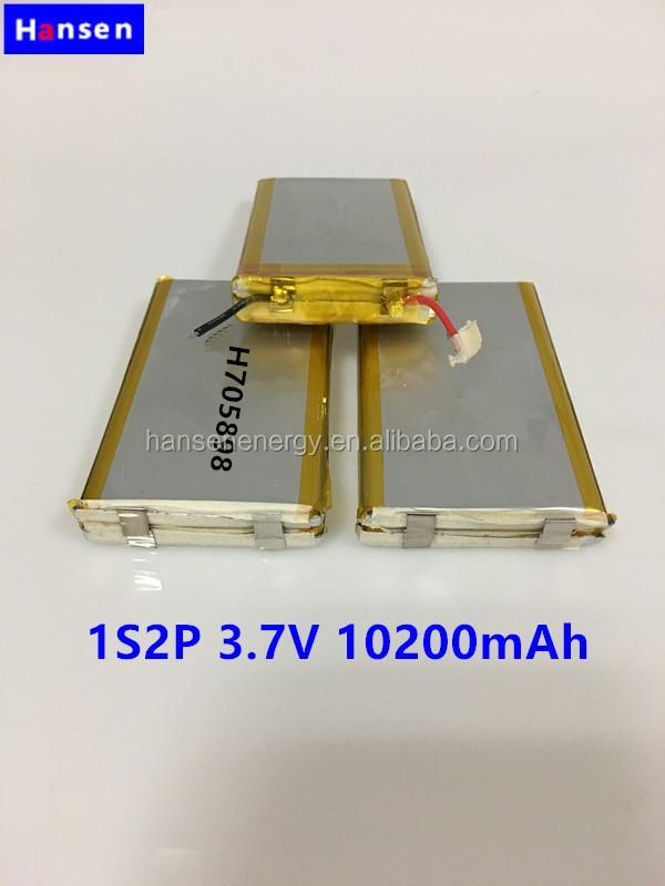 Bateria rechargebel 705898 1s2p 3.7 v 10200 mAh lipo bateria para banco de potência fornecedor de energia
