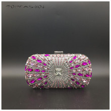 2015 Factory Vintage luxury rose red diamond designer crystal purse hollow out brass flat chain party purse