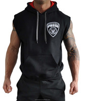unique design 100% cotton custom made mens hoody sleeveless,sleeveless hooded sweatshirt