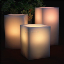 christmas ornaments real wax flameless flickering flame square electric candle light with remote control