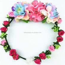 Cheap OEM natural rose silk flower lei wreath