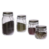 Square Hermetic Glass Storage Jar with Silicon Ring/Glass honey jar