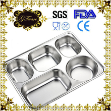 student food tray lunch box wholesale stainless steel compartment tray with cover