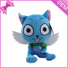Fish on Hands With White Wings Plush Toy Cat, Plush Cat Toy, Blue Cat Plush Toys