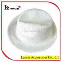 2015 new fashion wholesale girls straw fedora hat with white lace band trim