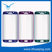 Hot! Beautiful Shinning Color Curved edge full cover tempered glass screen guard for samsung galaxy s6 edge