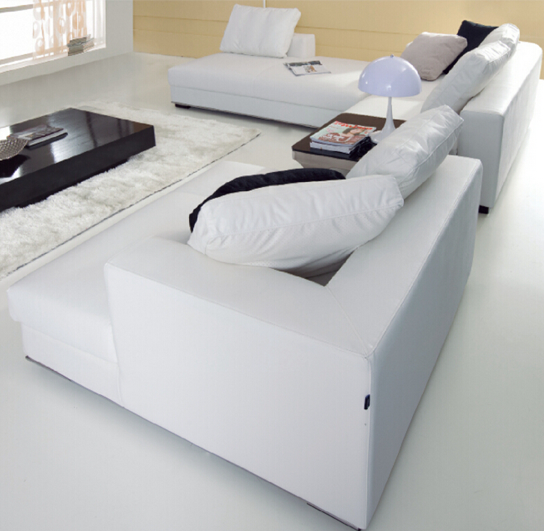 Modern fashion elegant white color l shape sofa cover for Elegant mysinge sofa cover ideas