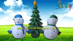 Lovely outdoor decoration inflatable chirstmas trees and snowman for sale