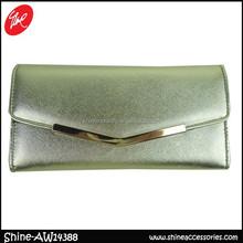 shiny silver women clutch wallet