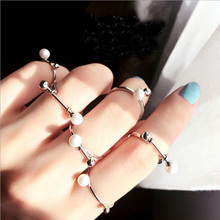 Gift hubei five sets pearl opening female joints index five finger ring