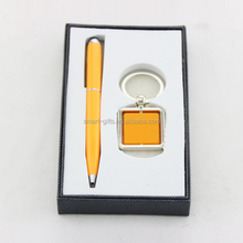 Spinning metal keychain and pen classical gift set