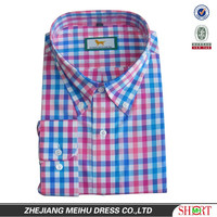 2015 Custom men Embroidered plaid casual shirt