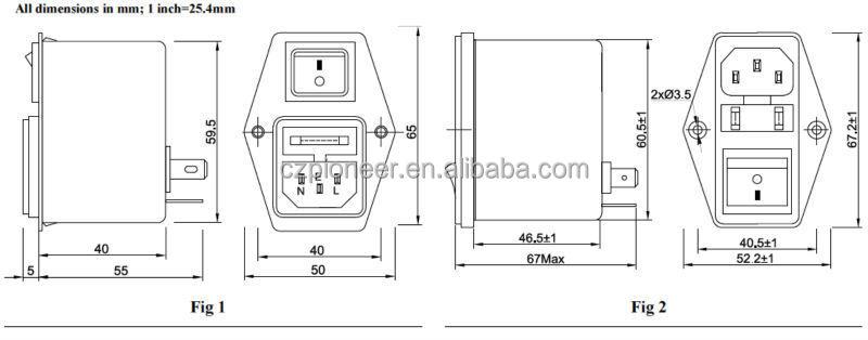 pe8400-6-01 6a 120  250vac mains noise switch iec rf emc filter