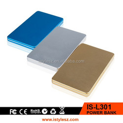 3000mah alloy credit card rapid power bank for mobile phone