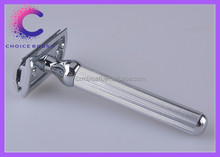 Alta calidad mango de metal de afeitar de seguridad india double edge hojas de afeitar