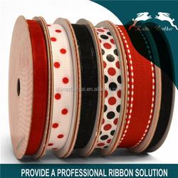 "red / black Polka Dot Grosgrain Ribbon of 1/2"""