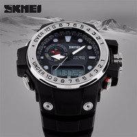 China wholesales clock Dual Time Plastic Analog Digital Watch SKMEI 1063