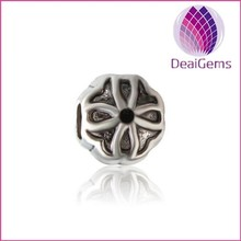 Wholesale Flower Designed Beads, Charms For Bracelets large hole metal bead