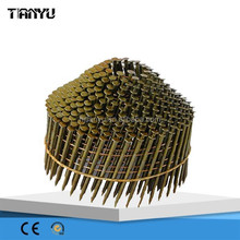 2015 good quality 15 Degree Galvanize Roofing collated Coil Nails, pneumatic coil nail gun