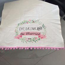 100% cotton printing tea towel with tassels
