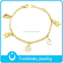 TKB-B0198 Lovely chubby bears,butterfly and rose charm handcraft gold plated 316L stainless steel bracelet for women