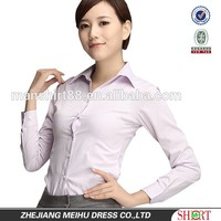 new slim fit striped formal dress shirt for office lady