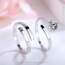 fashion AAA zircon wedding ring set, 925 silver ring for couple(SWTJU425)