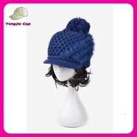 high quality wholesale fur women winter knitted wool hat with visor pattern