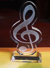 High quality K9 crystal music trophy for souvenir