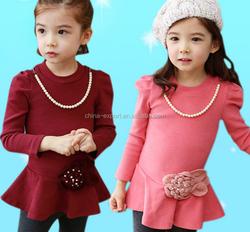 JPSKIRT1505115 2015 wholesale spring fashion New south Korea hot sale long sleeve pearl flower high grade red pink girls' dress
