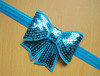High Quality Infant Elastic Blue Sequin Headband With Big Nice Bow
