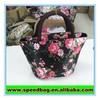 Black bag with red rose printing small reusable tote bag