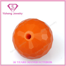 2015 Artistic Glass Gemstones Ball Machinery Cut with Hole Orange