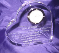 crystal heart shape clock with words engraved hot sale