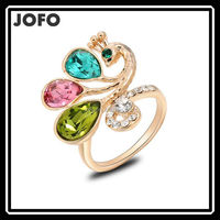 Peacock Rings Gold Plated Top Quality with Genuine Austrian Crystals 100% Hand Made Fashion Jewelry Christmas Gift FGJ0071
