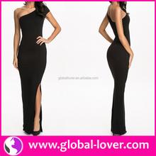 Unique design black one shoulder side split adult lady girls party dress