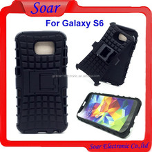 2 in 1 hybrid combo case for Samsung galaxy S6,tire pattern heavy duty case for Samsung galaxy S6 with kickstand