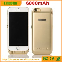 """2015 new products, plastic backup battery case 6000mAh 5v rechargeable battery for iphone 6 4.7"""""""