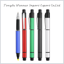Factory price fashionable colorful 5 color ball pen with highlighter